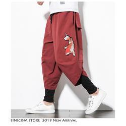 Sinicism магазин для мужчин китайский стиль шаровары 2019 s Уличная Harajuku хлопок белье джоггеры мужской вышивка пот брюки для девочек