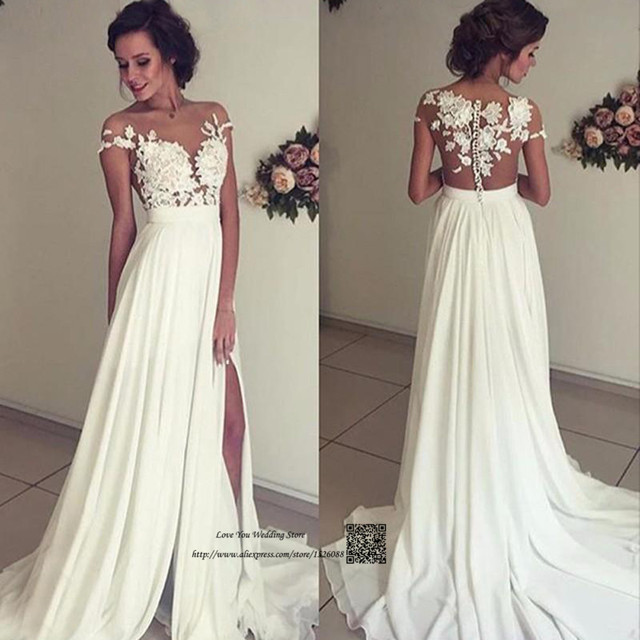 6b29c76c614 Beach Boho Wedding Dress Lace Cap Sleeve Chiffon Cheap Bridal Dresses China  Split Front Transparent Wedding Gowns Robe de Mariee