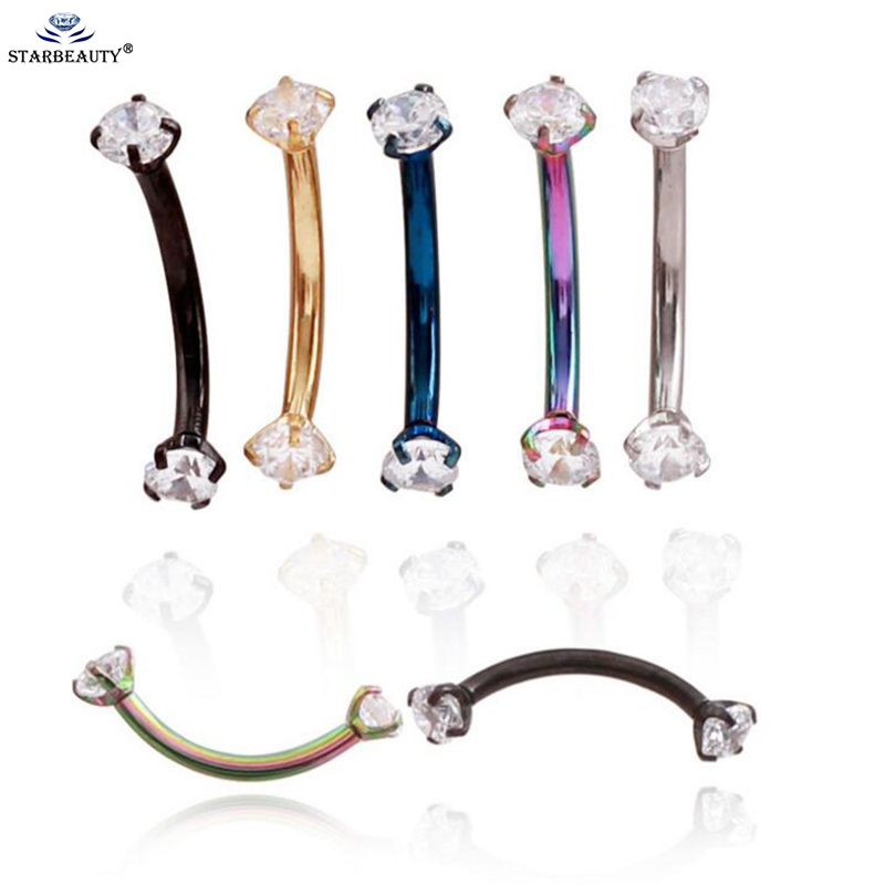 1Pc High Quality 316L Stainless Steel 16g 3mm Zircon CZ Gem Curved Eyebrow Ear Cartilage Helix Piercing Ring Body Jewelry