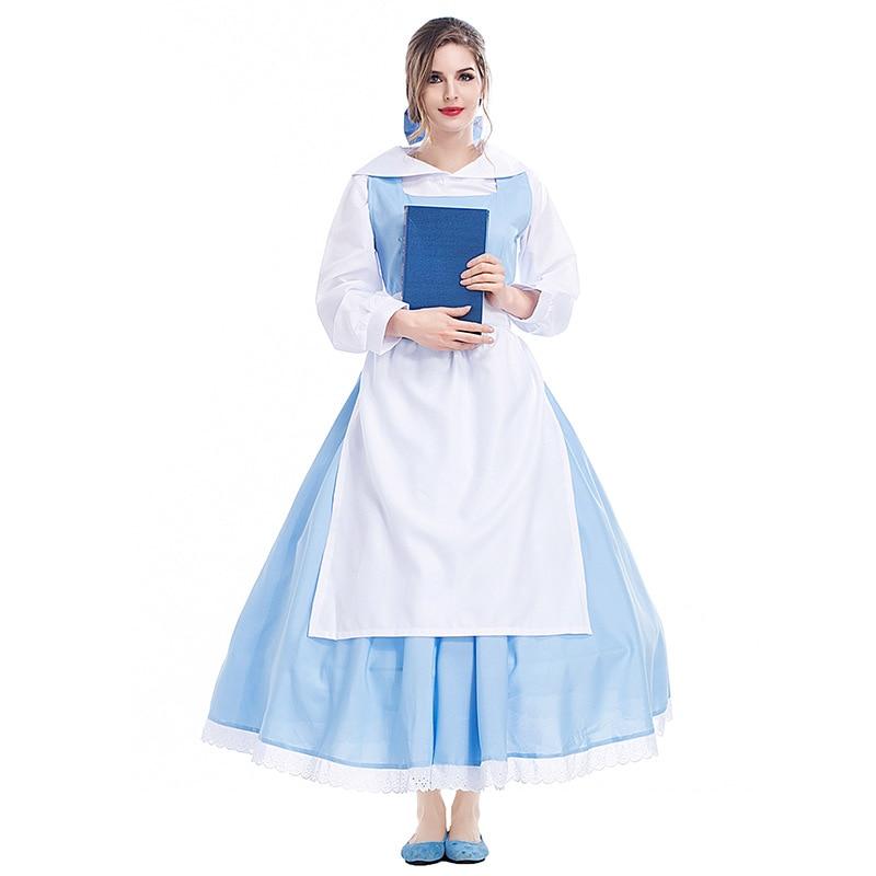 Adult Femei Film Frumusete si fiara Belle Blue Dress Rochie Halloween - Costume carnaval