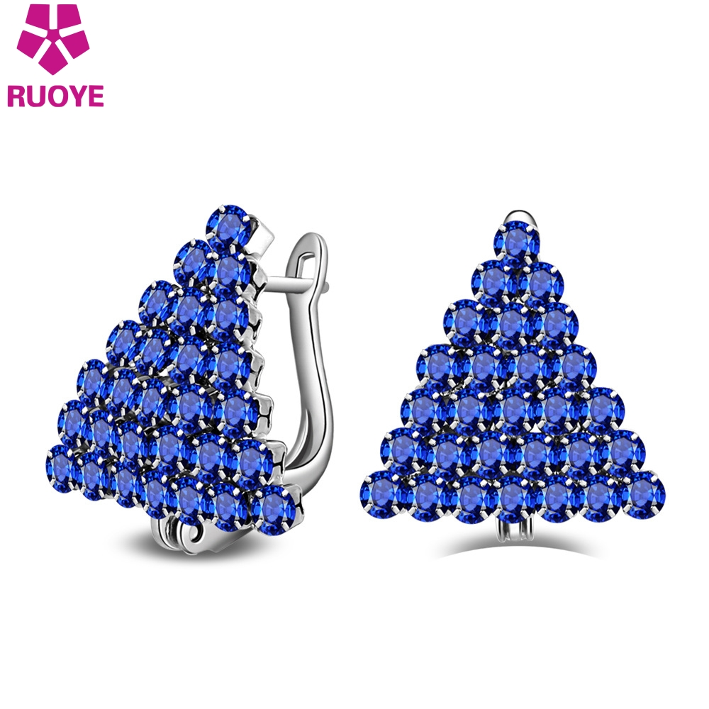 RUOYE Fashion Women Blue White Luxury Crystal Stud Earring Triangular Earring For Women For Silver Ear Jewelry