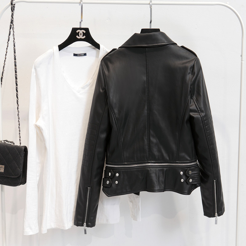 fc93bb4a4afb2 2019 Fitaylor Autumn Women Faux Leather Jacket Patchwork Slim ...