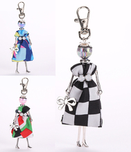 New listing dress baby  doll keychain cute rhinestone beautiful women's clothing doll key chain Fashion jewelry free shipping