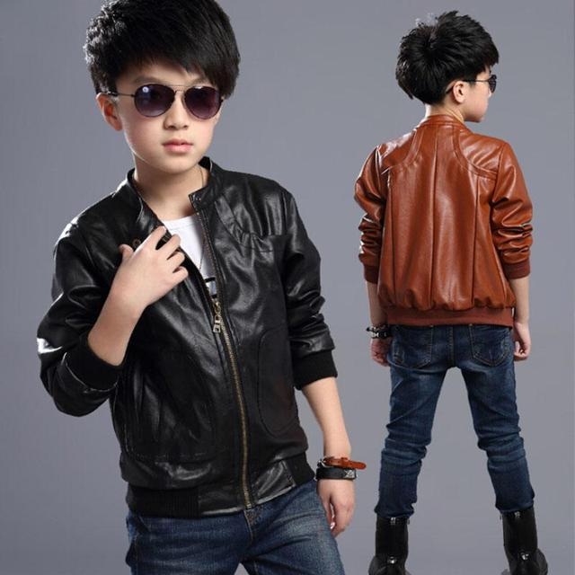 748cc235 Boys PU Leather Jacket Coat Clothes 2017 Fashion Style Toddler Teen Kids  Autumn Winter Outerwear Brown Black Thin Thick Jackets