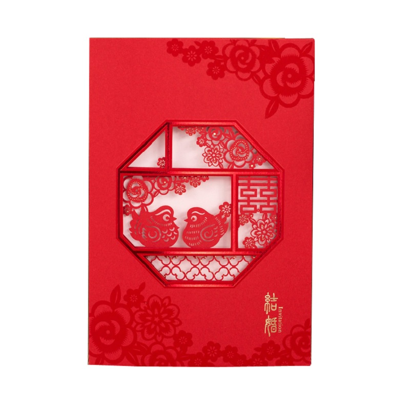 50 pcs Chinese paper cut Red Lovebirds and Double Happiness Wedding Invitation Card Party invitation cards