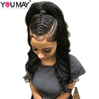 Pre Plucked 360 Lace Frontal Closure With Baby Hair Body Wave 100% Brazilian Remy Hair Natural Black Free Part You May Hair