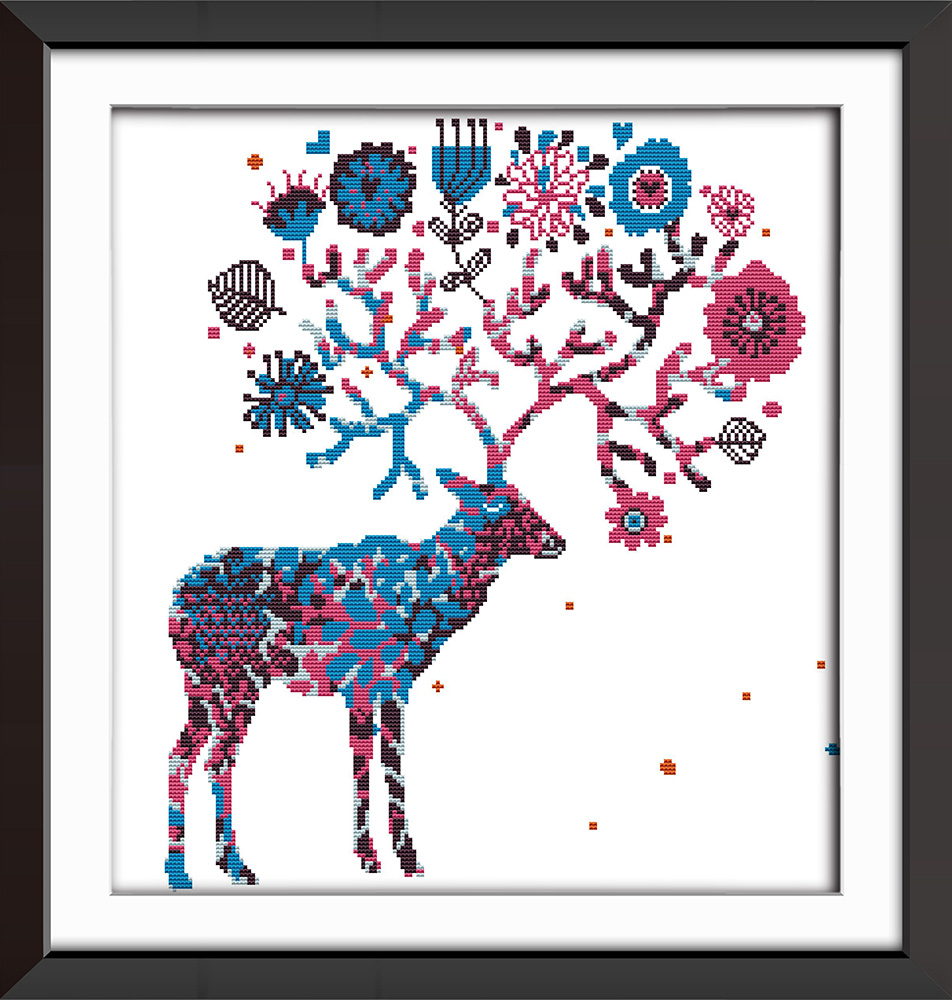 Joy Sunday Cross Stitch Kit Colorfule Elk Home Deco Painting Cross Stitch in Package from Home Garden