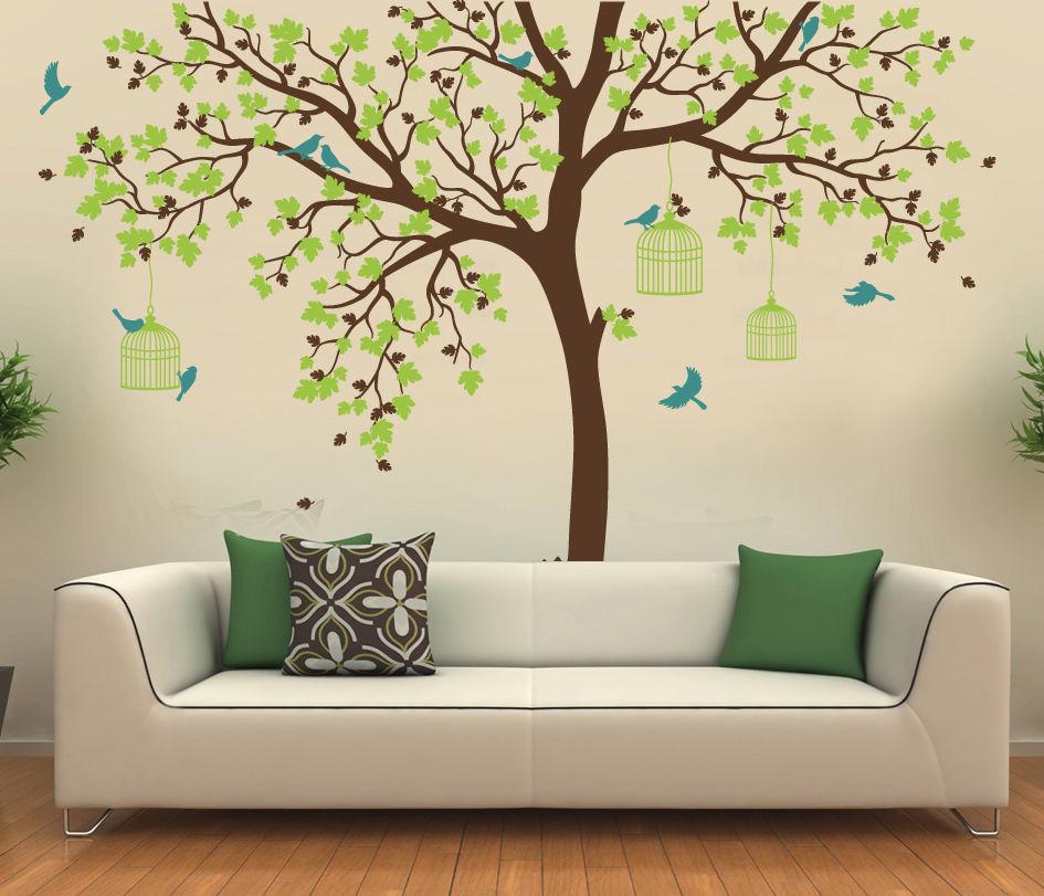 C198 grande taille Cage à oiseaux arbre pépinière Stickers muraux amovible vinyle décalque enfants bébé chambre décor mur art affiche - 3