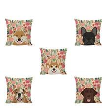 Flowers And Puppy Portrait Cushion Cover Cute Naughty Dog Labrador Corgi Dachshund Bulldog Colorful Warm Style Home Decoration