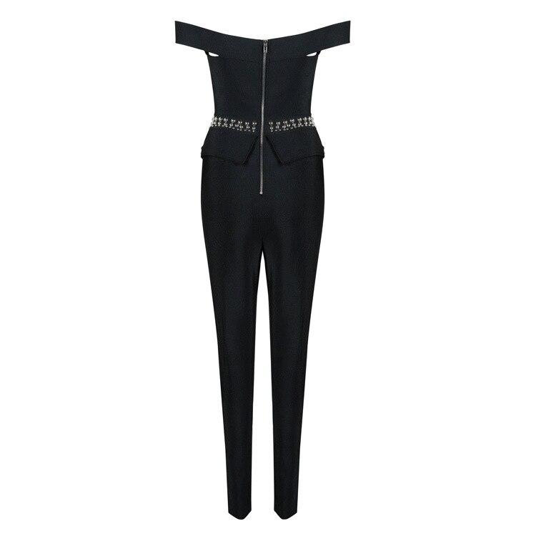 Casual Getsring Noir Femmes Mode Col 2018 Nouvelle Rivet Sexy Splice Bandage Black Pantalon Un Haute Taille Bib Mot PPUrzx
