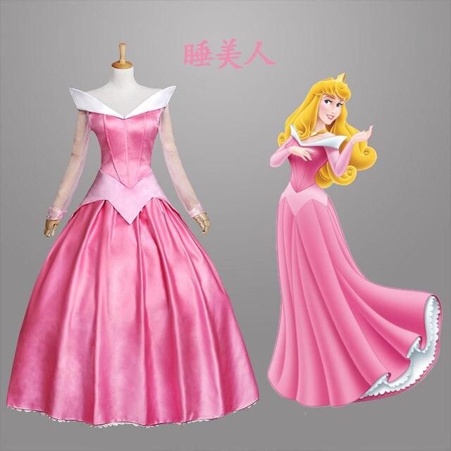 Sleeping Beauty Princess Aurora Costume Pink Deluxe Princess Cosplay  Costumes Ladies Fairytale Adult