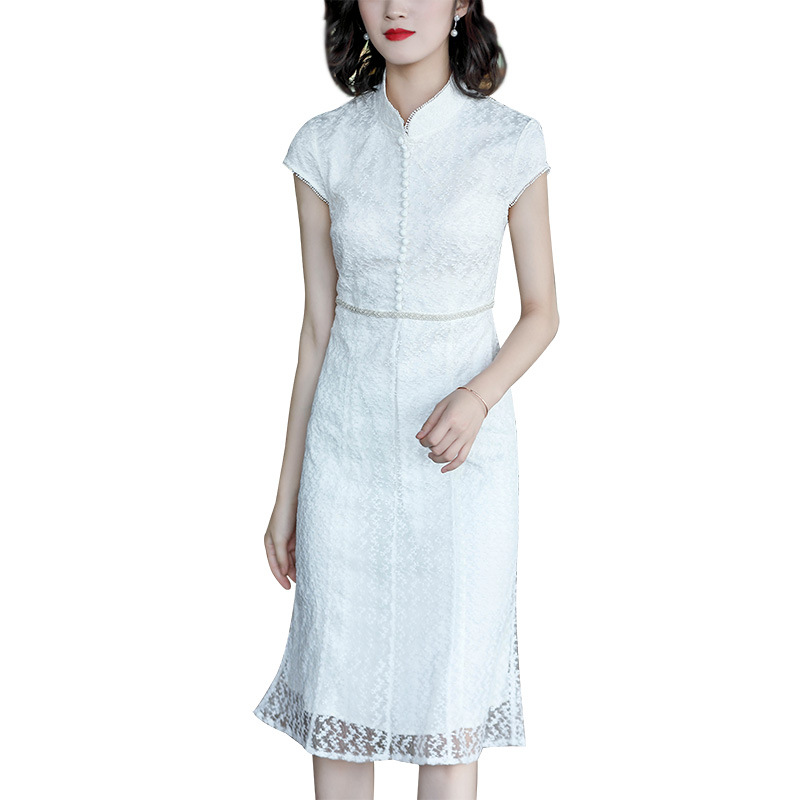 Dress Female Summer 2019 New Temperament Lady Short Sleeve Mandarin Collar Dresses Handmade Bead Embroidered Sheath Dress