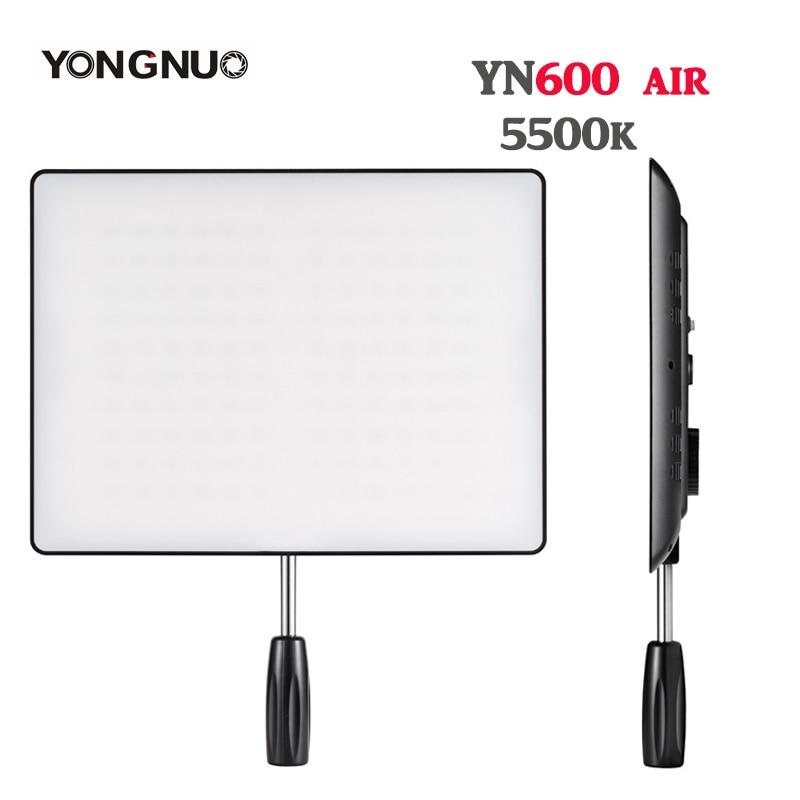 цена на YONGNUO YN600 Air Ultra Thin LED Camera Video Light Panel 5500K and 3200K-5500K Photography Studio Lighting for Canon Nikon Sony