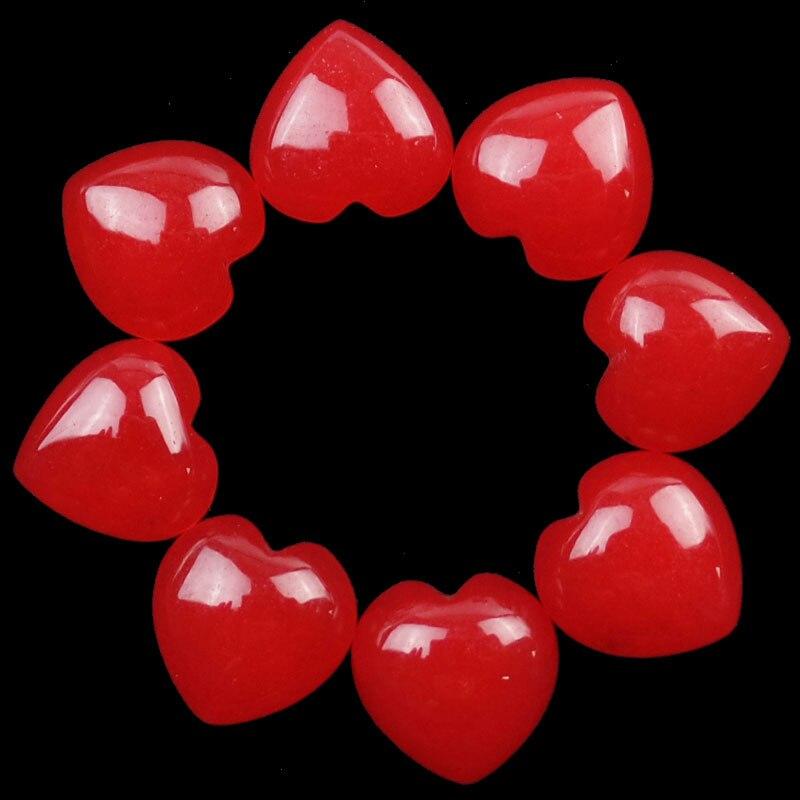 Free Shipping YUTENG 12Pcs Red Jades Heart CAB CABOCHON 15x6mm SHX1580