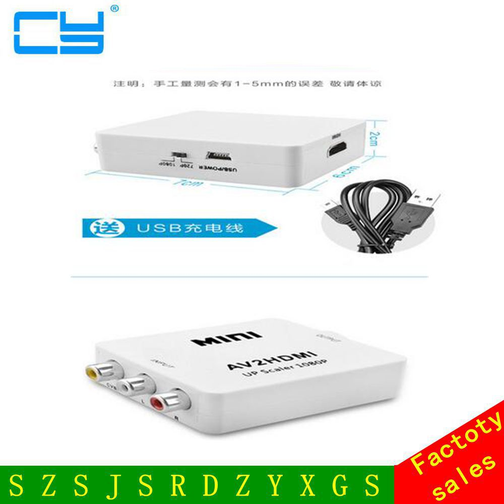 RCA to HDMI AV to HDMI 1080P AV2HDMI Mini AV to HDMI Converter Signal Converter for TV, VHS VCR, DVD Records