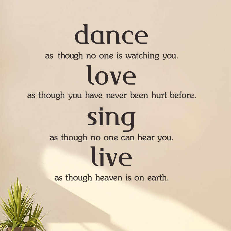 dance love sing live inspiring quotes family lettering words wall sticker  vinyl home art decor wall decal window glass poster