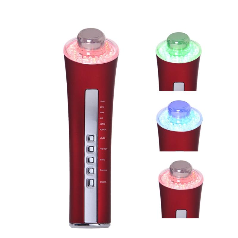 Galvanic Ion Ultrasonic Led Light Facial Massager 3 Color Led Photon Rejuvenation Skin Lifting Firming Beauty