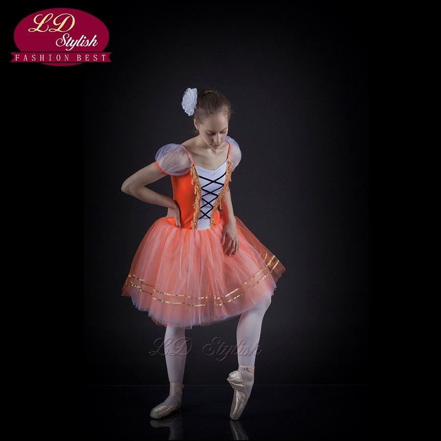 Ballerine adulte pour enfants robe jupe robe corps Tutu noyer Clip professionnel Ballet Tutu scène Performance Costumes LD0005I