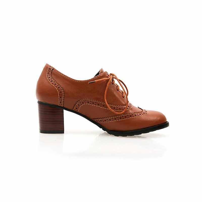 7d0eb02a7b1d PXELENA novedad zapatos Brogue Estilo Vintage para mujer con cordones  Oxfords bloque grueso corte zapatos tacones talla grande