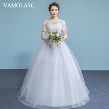 VAMOLASC Flowers Boat Neck Lace Ball Gown Wedding Dresses Illusion Short Sleeve Sequined Backless Bridal Gowns