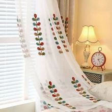 High Quality Coral Embroidered Voile Curtains Leaves Tulle Window Curtain pour salon