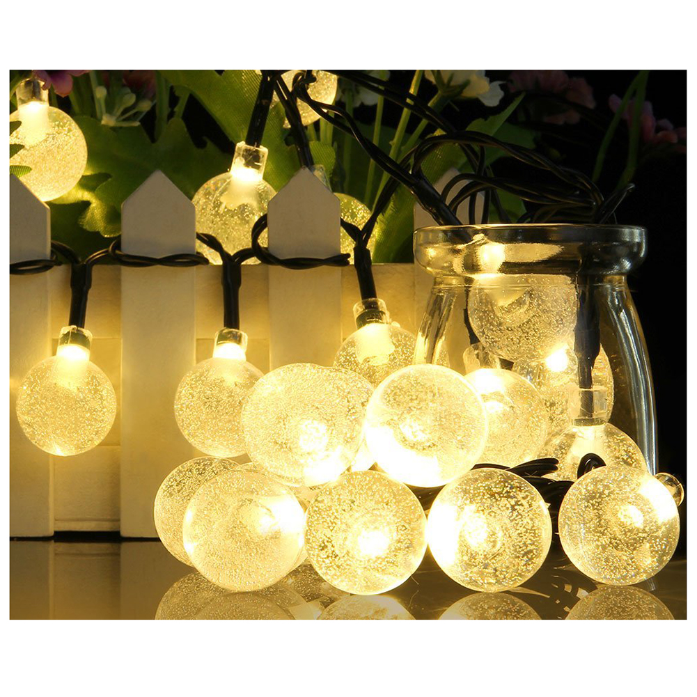 Solar Outdoor String Lights 20ft 30 LED Warm White Crystal Ball Solar Powered Globe Fairy Lights for Garden Fence Path Landsca