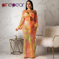 PinePear Gradient Fishnet See Through Off Shoulder Bandage Crop Top Skirt Set Women Two Piece Outfits Beach Dress Drop Shipping