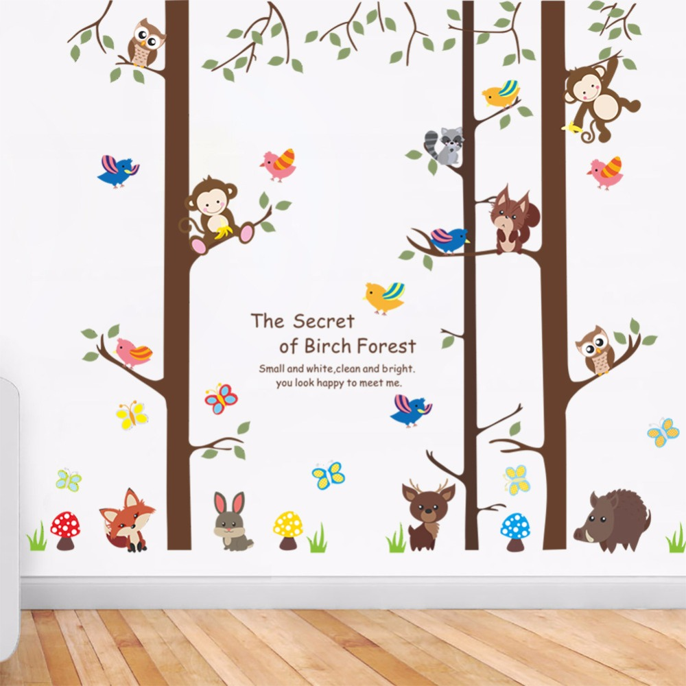 இCartoon Animals The secret of Birch Forest Wall Stickers Home ...