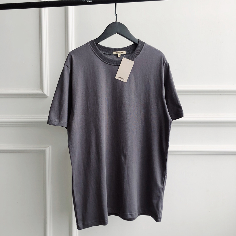 Kanye   T     Shirt   Solid Mens Summer Dress   T  -  shirt   Season 6 Kanye West The Best Quality Cotton Grey Tshirt Kanye Season 6