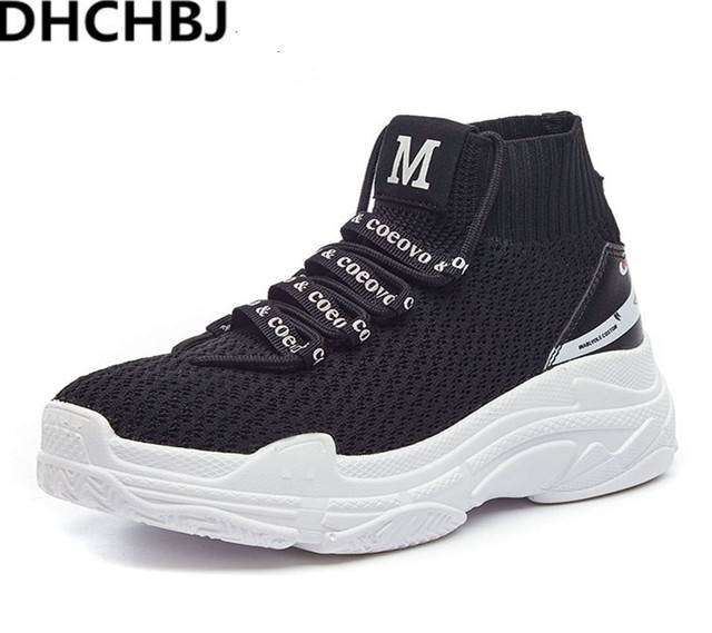 be2795b23a3 2018 High Top Sneakers Men Unisex Knit Upper Breathable Shoes Fashion Shark  Logo Couple Black   White Shoes Shoes Casual