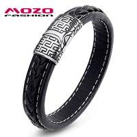 MOZO FASHION Men Bracelet Black Brown Vintage Leather Bracelet Stainless Steel Magnetic Clasps Bracelets Male Hot