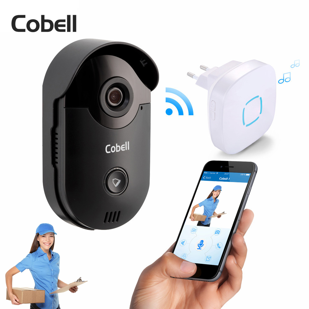 Cobell 720P HD Wireless Wifi Video Doorbell Camera Motion Detection Alarm Built-in TF Card Door Phone Intercom Home Security cobell wifi doorbell hd 720p wireless video door phone intercom motion detection alarm remote control for ios android