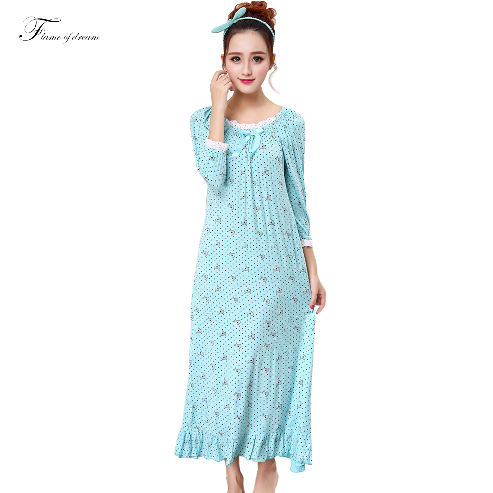 Aliexpress.com : Buy Long cotton women sleepwear Girls ...