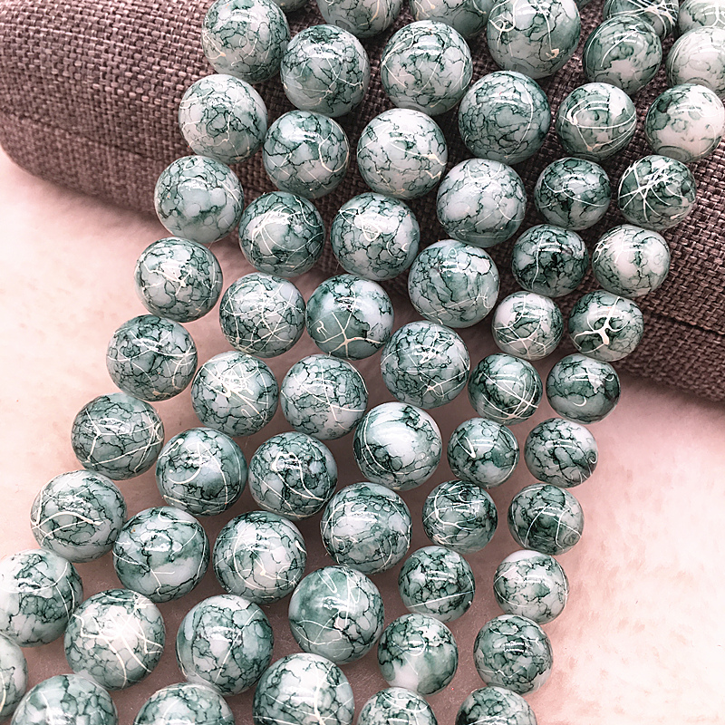 NEW 30PCS 8mm Glass Round Pearl Spacer Loose Beads Pattern Jewelry Making 35