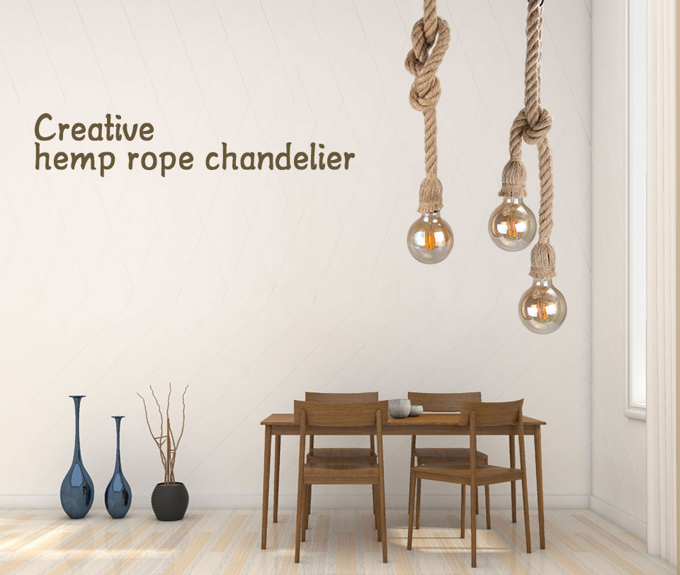 EeeToo Modern Industrial Pendant Light for Bedroom Vintage Lamp Rope E27 Hanging Light Fixture Chandelier Loft Edison Bulb Style (1)