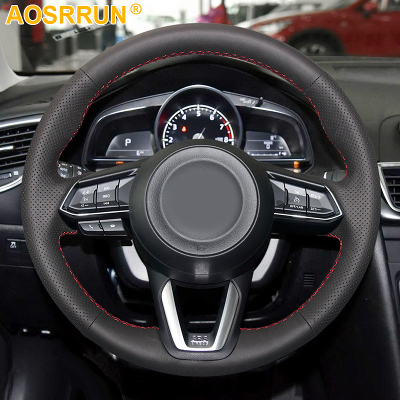 Black Leather Hand-stitched Car Steering Wheel Cover For <font><b>Mazda</b></font> <font><b>CX</b></font>-3 CX3 <font><b>CX</b></font>-<font><b>5</b></font> CX5 <font><b>2017</b></font> <font><b>2018</b></font> Car <font><b>Accessories</b></font> covers image