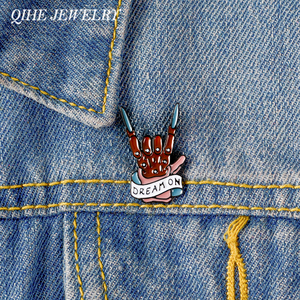 QIHE JEWELRY Rockin' Rock Pin Skeleton Hand Dream Banner Brooches Rockin' the Dream Badges Pins up Pins for Rocker