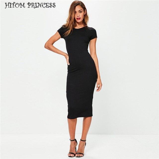 945216be047 HITOM PRINCESS Fashion T Shirt Dress Women Short Sleeve Lady Pencil Dress  Classic Slim Midi Bodycon