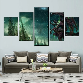 5 Piece Game Illidan Stormrage DOTA 2 Painting Poster Decorative Mural Wall Modern Decorative Decor Canvas Painting Wholesale image