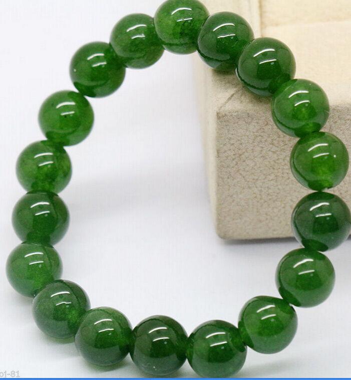 Natural Emerald Round Gemstone Beads Stretchy Bangle Bracelet 7.5/'/' 10mm