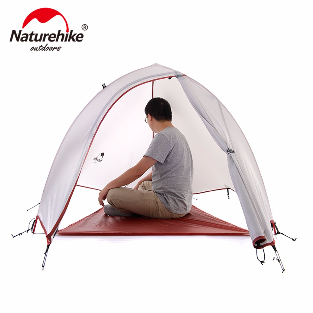 Naturehike 1 Person Tent 20D Silicone FabricTent Double-layer Aluminum 4 Season Camping Tent With Mat Outdoor Survival Equipment naturehike 3 person camping tent 20d 210t fabric waterproof double layer one bedroom 3 season aluminum rod outdoor camp tent
