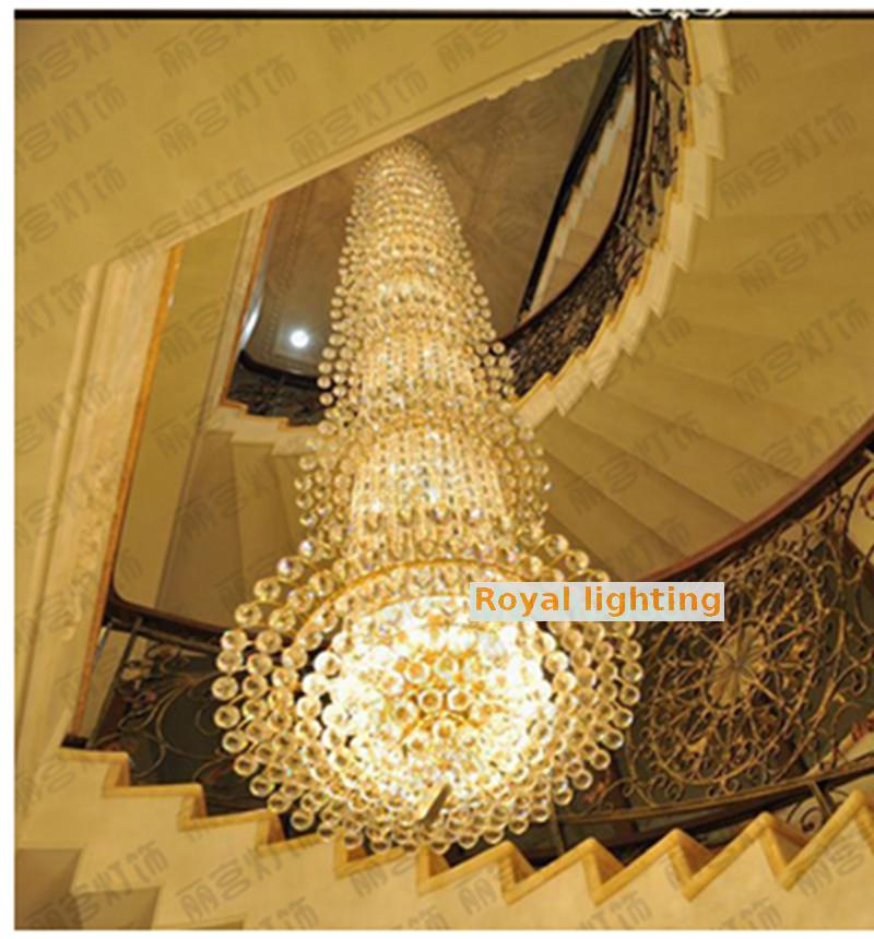 Hearty Long Stairwell Crystal Chandelier Led Luminaria For Living Room Chandelier Lighting Stairway Gold Led Chandelier Hotel Fixtures Lights & Lighting Chandeliers