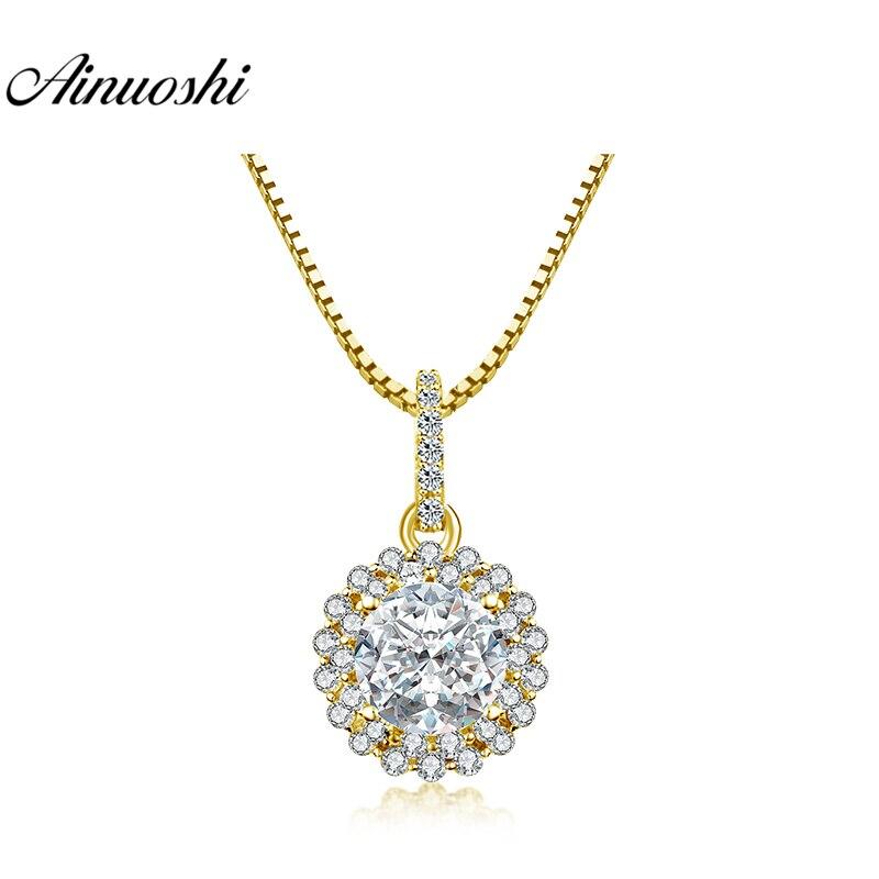 Ainuoshi 10 Karat Gelb Gold Runde Halo Anhänger 3,5 Karat Sona Diamant Anhänger Luxuriöse Separaten Anhänger Feine Frauen Schmuck Geschenke