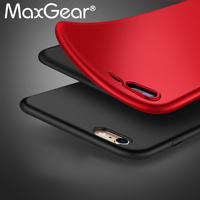 Silicone Matte Ultra-thin Tpu Soft Case For iPhone 6 6S 7 7Plus 7 Plus Protective Cover Matte Hand feeling Black Red