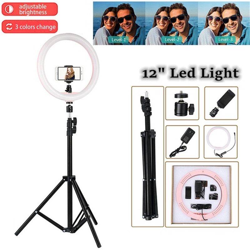 Tycipy LED Ring Light 2700K 5500K 24W Photo Studio 12 Light Photography Dimmable font b Video