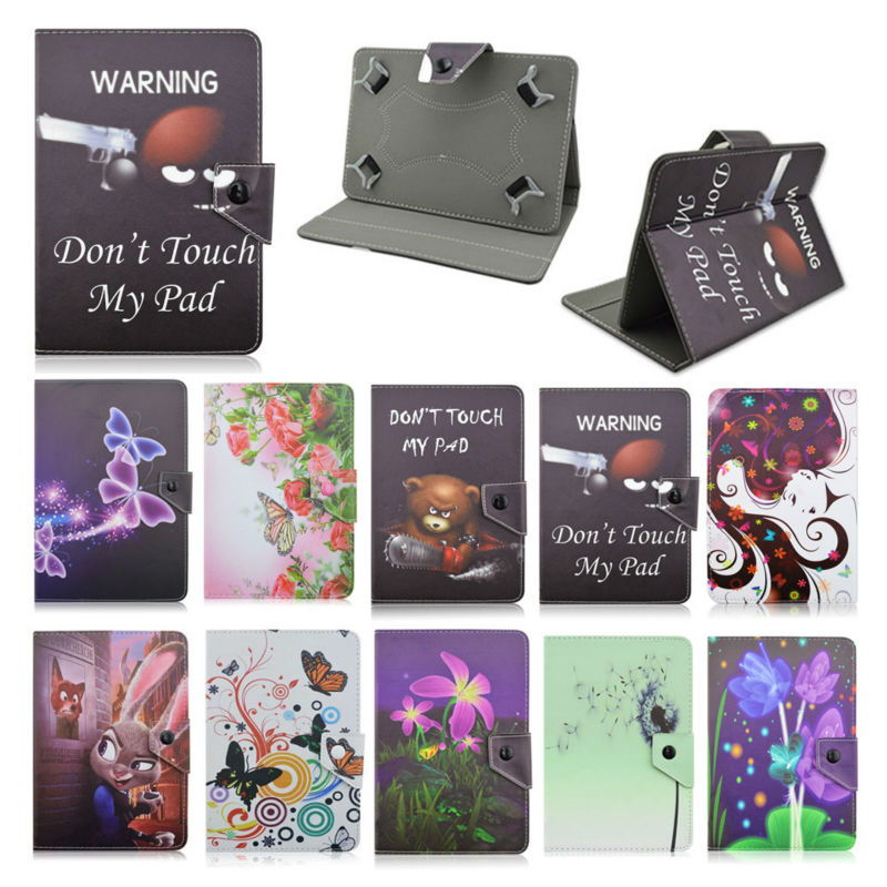 Fashion Butterfly flower painting Leather Stand Case Cover For Huawei Honor T1-701u T1 701u 7Inch Universal tablet+Film