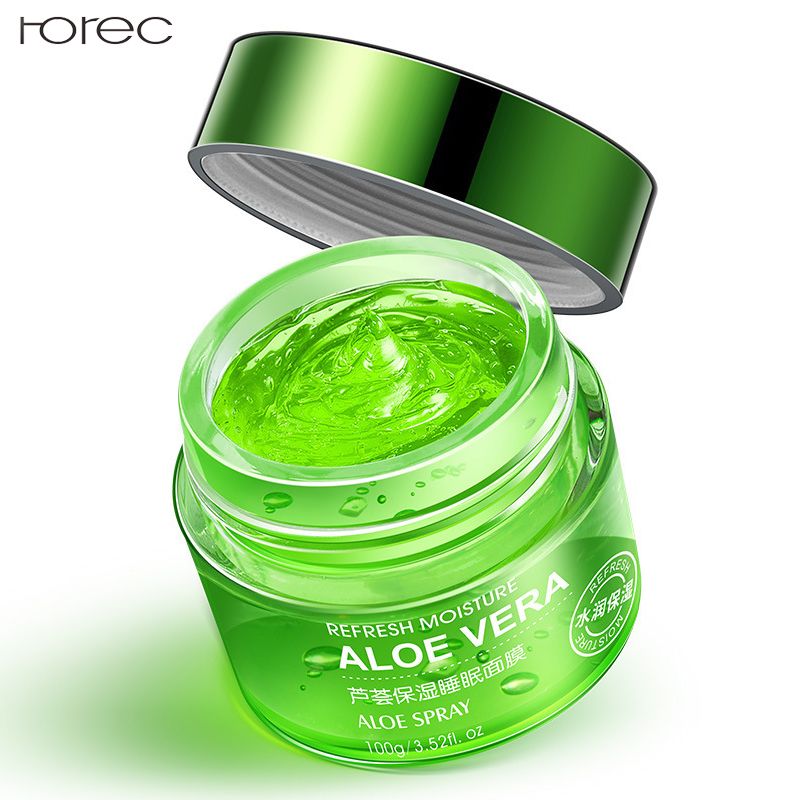 ROREC Aloe Vera Sleep Face Mask Shrink Pores Hyaluronic Acid Moisturizing Blackhead Remover Oil Control Plant Mask Skin Care in Treatments Masks from Beauty Health