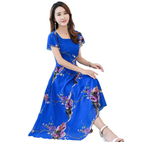 Womens Dresses summer 2018 Short sleeve A Line Sweet Print Chiffon Square Collar Dress fashion Floral Slim Beach long Dress L807
