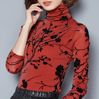 Winter Spring New 2018 Womens Fashion Slim Turtleneck Printing Plus Velvet Thick Warm Under Shirts Tops