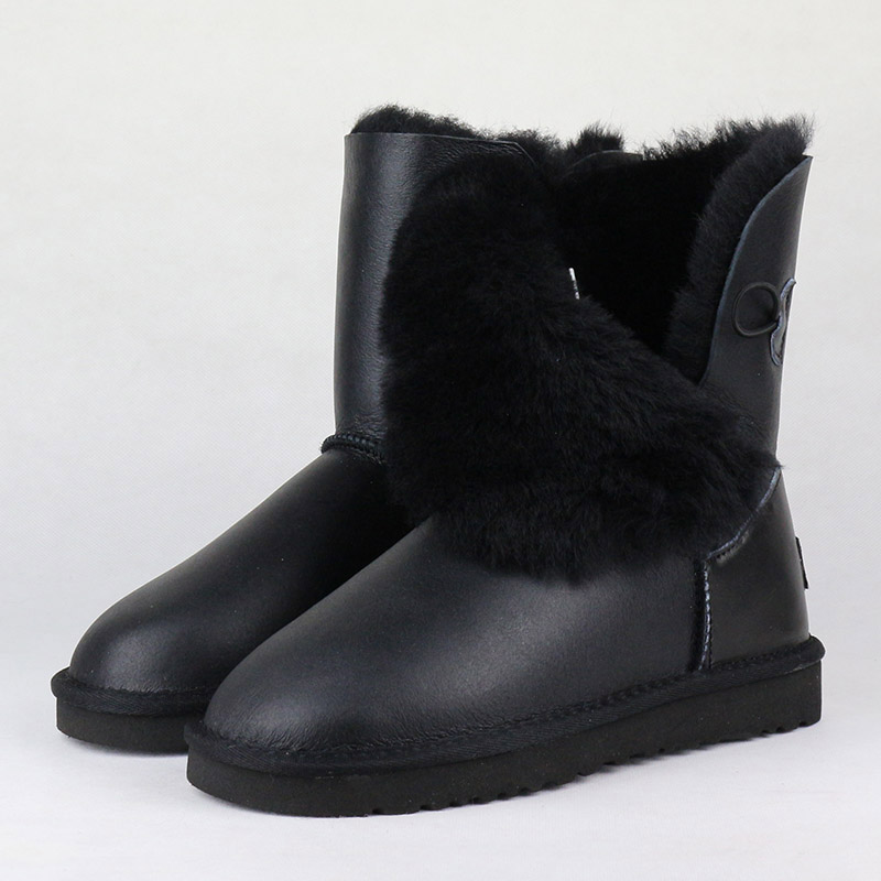Top Quality Genuine Sheepskin Leather Women's Snow Boots 100% Natural Fur Warm Wool Inside Winter Boots Women Boots Winter Shoes-in Mid-Calf Boots from Shoes    3
